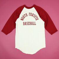 Vintage 90s North Forsyth Raglan Baseball T-Shirt S/M Vtg NOS Deadstock Grunge