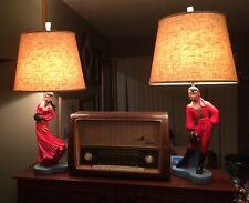 "2 Reglor Gypsy Dancer Lamps 22"" Figures Male & Female ©1951 Mid Century Vintage"