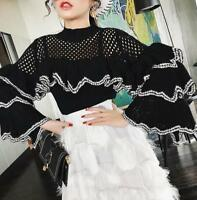 Womens High Neck Hollow Frilly Flounced Ruffle Sleeves Knitted Sweater Tops