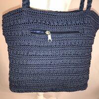 Purse Cross body Handbag Zip Closure Blue Unbranded Knitted