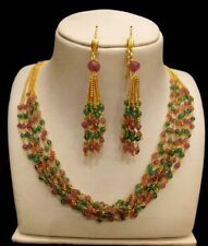 ANTIQUE BOLLYWOOD STYLE 6 LINES RUBY EMERALD BEADS NECKLACE WITH LONG EARRINGS
