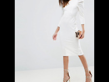Midi Dress With Puff Sleeve and Cut Out Back white Uk 10