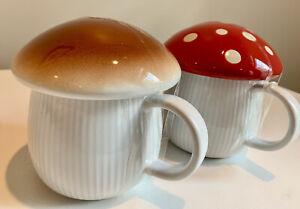 World Market Mushroom Lidded Mugs-Set of Two (Red Polka Dot and Brown) BRAND NEW