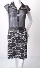 REVIEW Size 14 US 10  White with Black Lace Short Straight Skirt