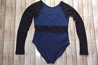 Ivy Park Womens Blue Black Leotard Body Suit Top Medium NWOT