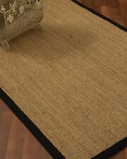 NaturalAreaRugs Hand-Crafted Maritime Natural Seagrass Rug, Black (9' x 12')