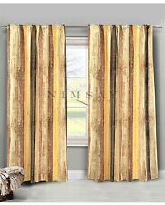 Mustard Yellow Brown Striped Pair of Polycotton Curtains Blackout Pattern Print
