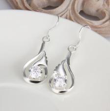 Sparking CZ Crystal 925 Sterling Silver Drop Dangle Womens Hook Earrings #EA125