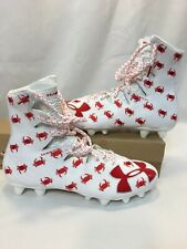 Sz 10 Under Armour Football/ Lacrosse Cleats Men White Red Crab 1297354-161