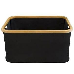 Hills Foldable Bamboo Laundry Basket - Black Easy to use waterproof