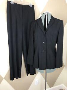 Ann Taylor Factory Black Sz 8 Pinstripe Jacket Blazer Pants Sz 6 Suit