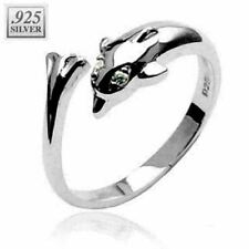 925 Sterling Silver Dolphin Toering with Cz Toe Ring.