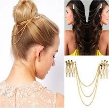 Womens Fashion Gold Metal Tassel Leaf Comb Cuff Chain Jewelry Headband Hair Band