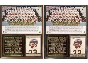 1974 Pittsburgh Steelers Super Bowl IX Champions Photo Card Plaque Franco Harris