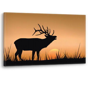 Deer Stag Sunrise Animal Antlers Large Canvas Wall Art Picture Print A0 A2