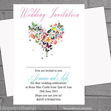 12 x Personalised Wedding Evening Day Invitations Butterfly Heart  | H0512