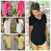 Women Plus Size T-shirt Solid V Neck Short Sleeve Long Casual Loose Blouse Top--