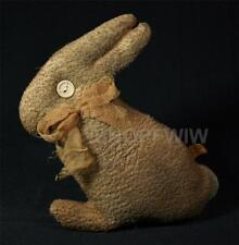 """Primitive 10"""" Grungy Tea Stained Brown Bunny With Gauze Bow And Button Eyes"""