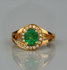 SUPERB 1.30 CT NATURAL EMERALD & DIAMOND FINE TWISTED RING!