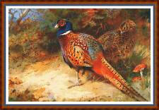 """'Pheasants In The Undergrowth' Cross stitch Chart 19""""x13"""" Detailed/Birds New"""