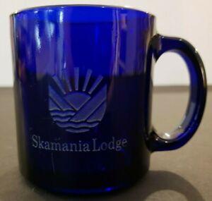 Blue Etched Clear Glass Skamania Lodge Coffee Cup Mug