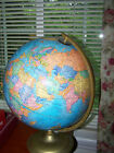 Vintage 12'' Cram's Imperial World Globe On Brass Colored Metal Base Made in USA