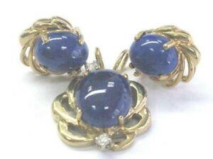Natural Lapiz & Diamond Yellow Gold Pendant & Earrings 14Kt 6.05Ct