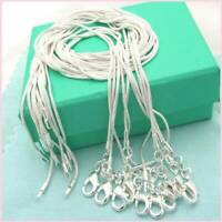 10PCS Wholesale 925 Sterling Solid Silver Snake Necklace Chain Fits Pendant 1MM