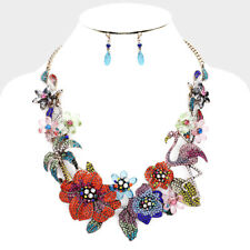 LUXE Statement Gold Multi Crystal Flamingo Cocktail Necklace Set Rocks Boutique