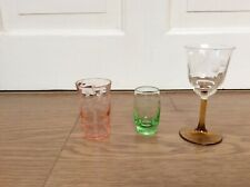 THREE COLOURED ETCHED DRINKING GLASSES
