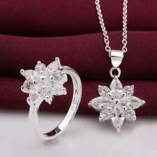 925Sterling Solid Silver Fashion Crystal Snowflake Rings Necklace Jewelry Sets