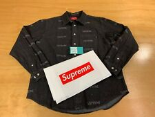 SUPREME LOGO DENIM L/S BUTTON UP SHIRT BLACK RED BOX LOGO NEW MEDIUM SS19 2019