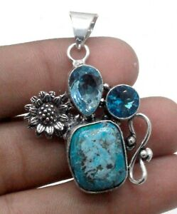 """925 Sterling Silver Turquoise & Topaz Gemstone Jewelry Pendant Size-1.80"""""""