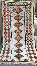 "Moroccan Azilal Berber Rug Carpet - Beni Ourain - Rainbow of Color - 7'7"" x 4'"