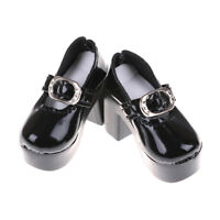 1pair Black PU Leather 1/4 Doll Shoes for 50cm BJD Dolls Accessory 6.3cm TECA