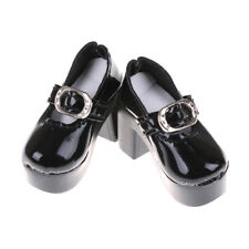 1pair Black PU Leather 1/4 Doll Shoes for 50cm BJD SD Dolls Accessory 6.3cm HI