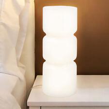Lampada da Tavolo Lume da Comodino in Vetro Opaco Bianco Abatjour 26,5x10cm E14