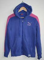Puma Sport Outdoor Women's Full Zip Hooded Blue/Pink Jumper Jacket Runner Size S