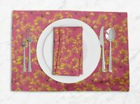 S4Sassy Yellow Mustard Leaves Printed Tablemats With Napkins Set-LF-583K