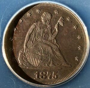 """1875 20C AU55 """"Rare"""" beautiful toning and detail on a mintage of ~ 36,000"""