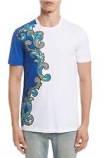 Versace Collection Baroque Print T-Shirt Current - White / Royal Blue - Medium