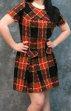 Vintage 60's Plaid Mini Dress, retro, pleated skirt