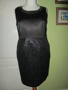 ET VOUS SIZE 18 WOMENS BLACK SATIN/JACQUARD PENCIL DRESS BEADED NECK