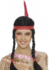 Ladies Braided Native American Indian Squaw Fancy Dress Costume Plaited Wig