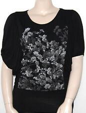 NEW Grace Elements Size XL Black Short Dolman Sleeve Floral Print Top