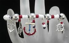 Nautical Theme Silver Tone Stretch Charm Bracelet