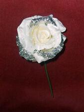 6 fiori di rosa con glitter argento color bianco