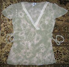 ELLEMENNO Babydoll Lace Boho Tie Back Dye Top Shirt S