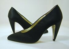 Walter Steiger Black Satin Dressy Shoes Pumps heels 6 B