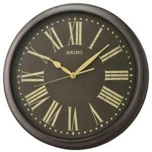 NEW Seiko Peterson Outdoor Wall Clock, Antique Black, 41cm
